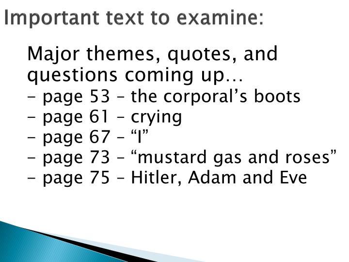 Important text to examine: