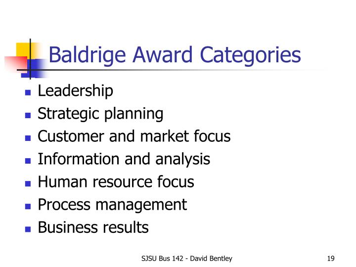 Baldrige Award Categories