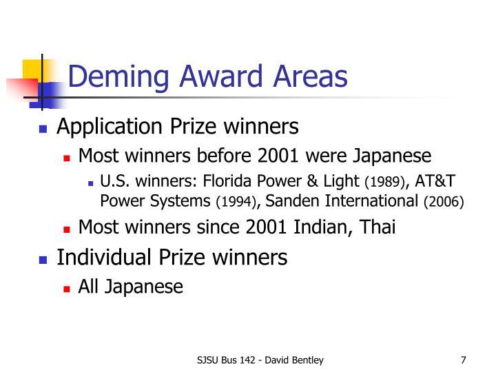 Deming Award Areas