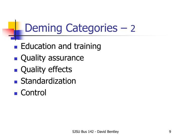 Deming Categories –
