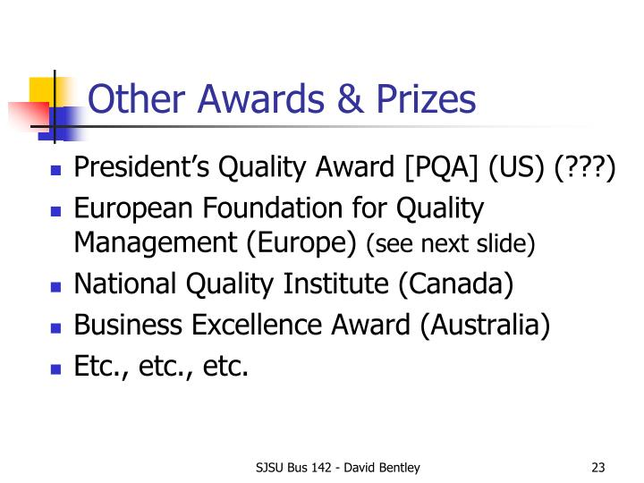 Other Awards & Prizes