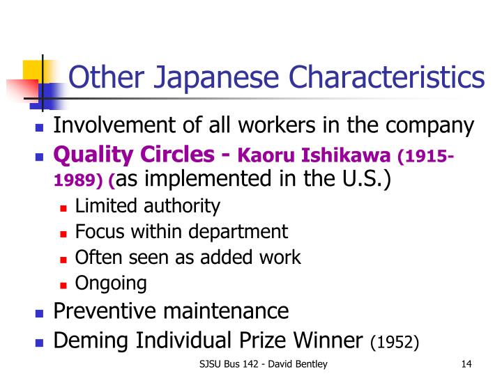 Other Japanese Characteristics