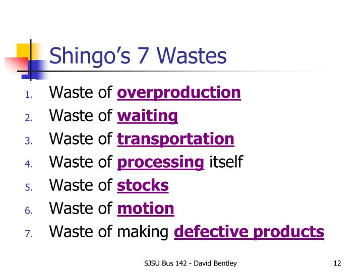 Shingo's 7 Wastes