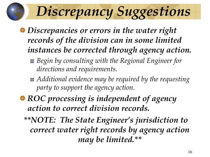 Discrepancy Suggestions
