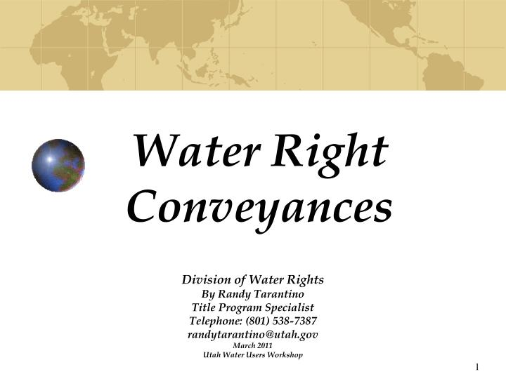 Water Right Conveyances