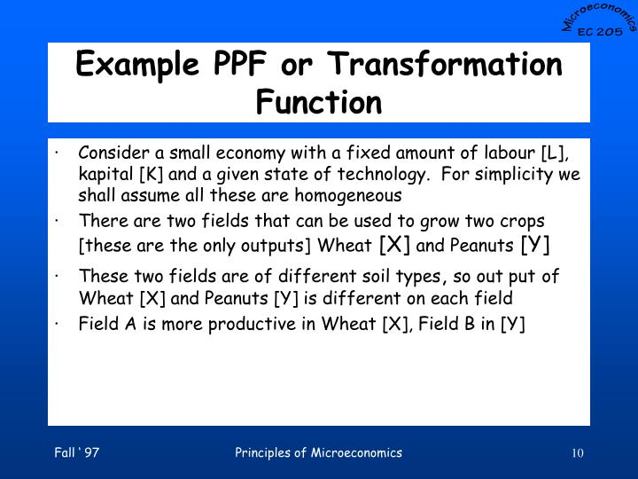 Example PPF or Transformation Function