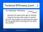 technical efficiency cont