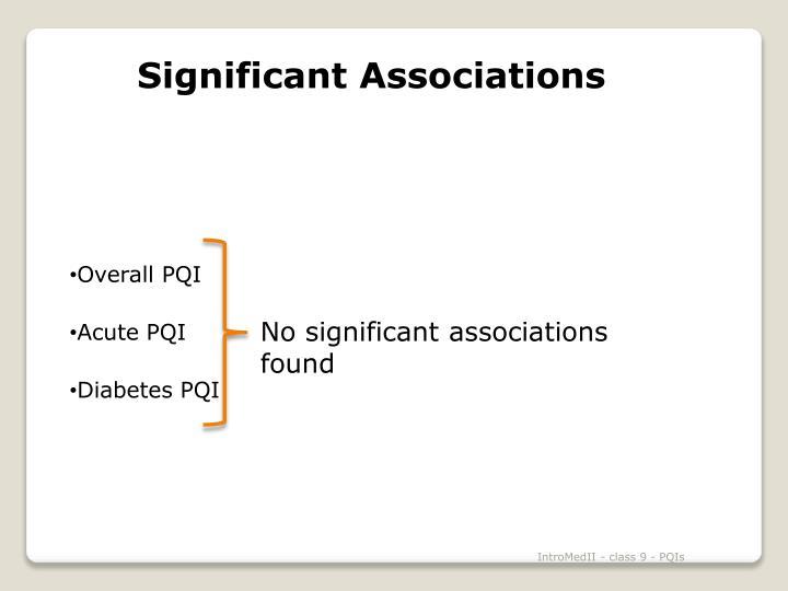 Significant Associations
