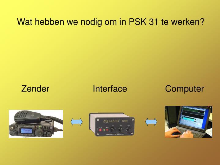 Wat hebben we nodig om in PSK 31 te werken?