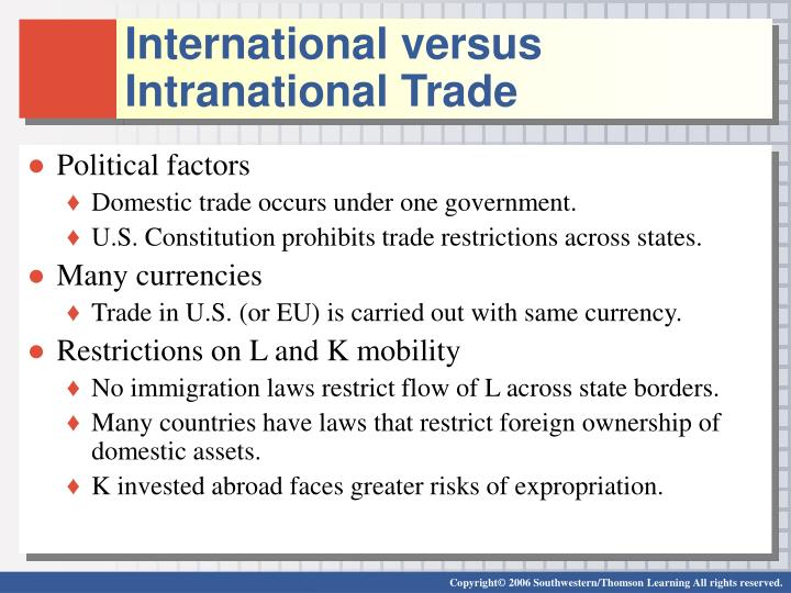 International versus Intranational Trade