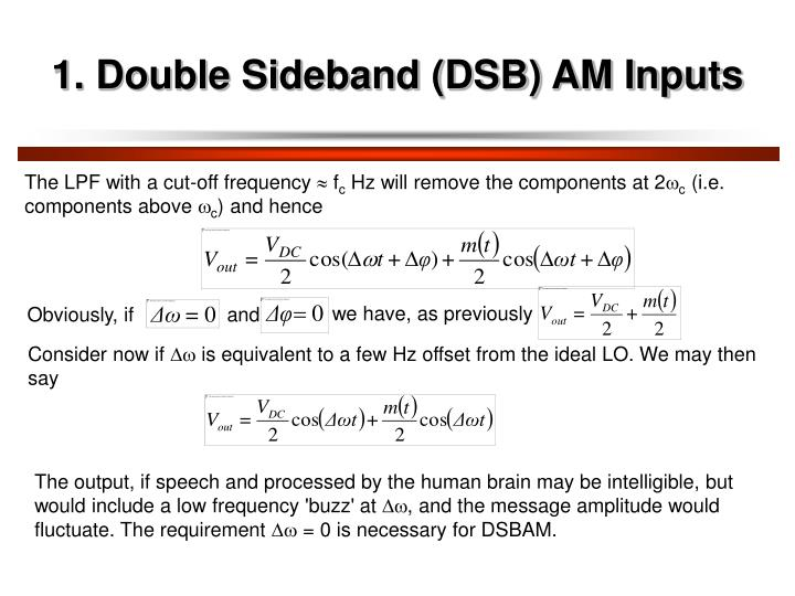 1. Double Sideband (DSB) AM Inputs