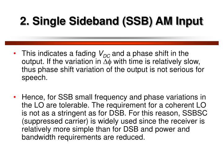 2. Single Sideband (SSB) AM Input