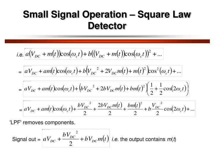 Small Signal Operation – Square Law Detector
