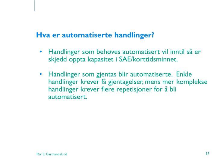 Handlinger som behøves automatisert vil inntil så er skjedd oppta kapasitet i SAE/korttidsminnet.