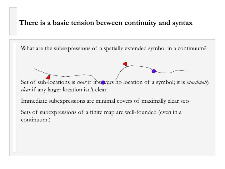 There is a basic tension between continuity and syntax