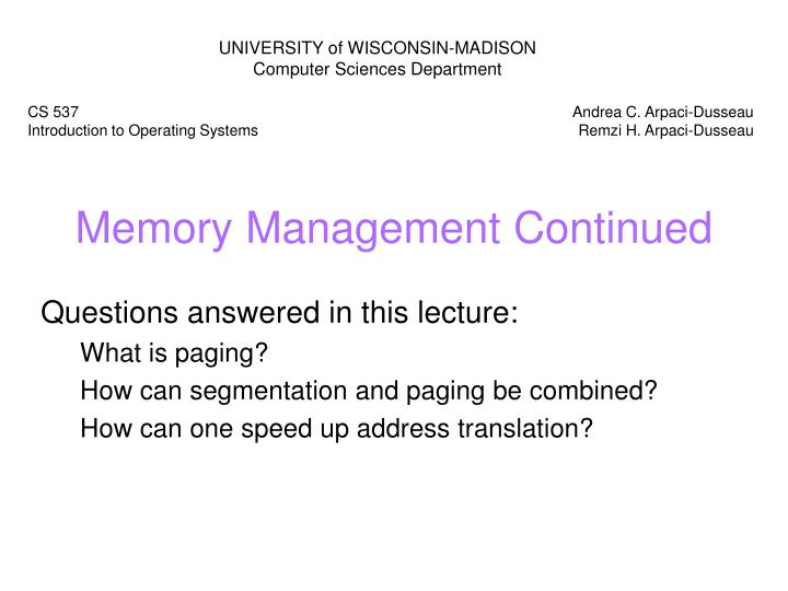 Memory management continued