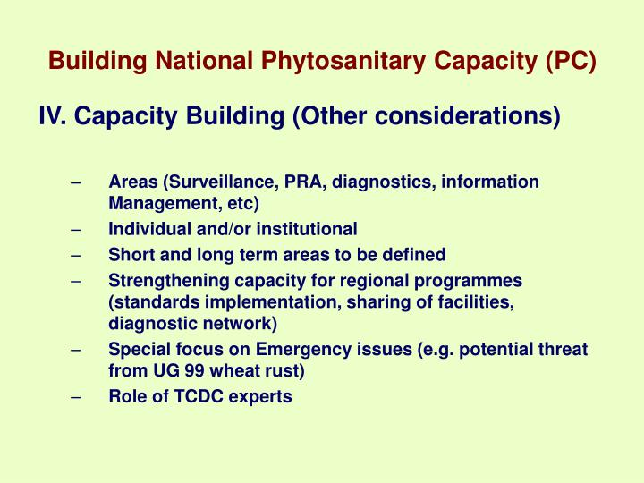 Building National Phytosanitary Capacity (PC)