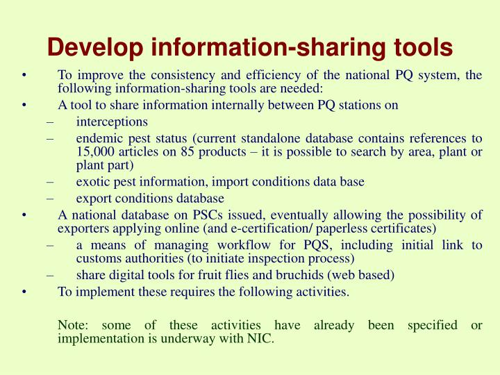 Develop information-sharing tools