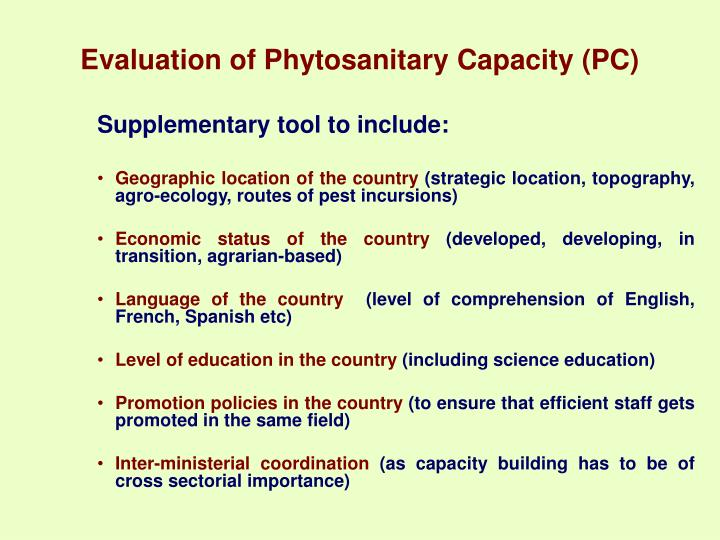 Evaluation of Phytosanitary Capacity (PC)