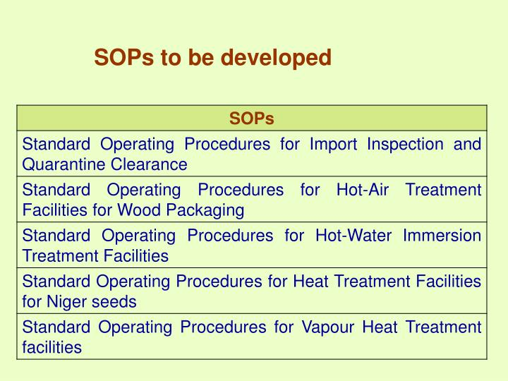 SOPs to be developed