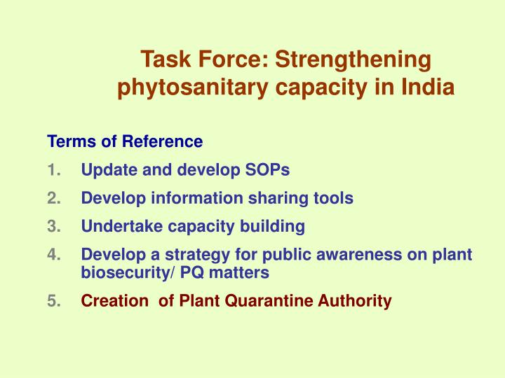 Task Force: Strengthening phytosanitary capacity in India