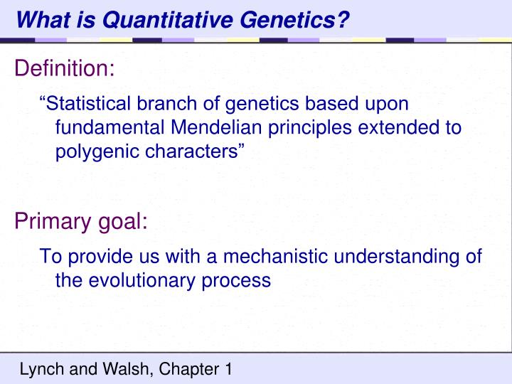 What is quantitative genetics