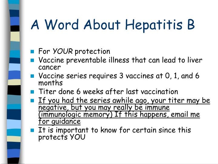A Word About Hepatitis B