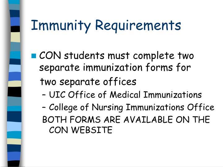 Immunity Requirements