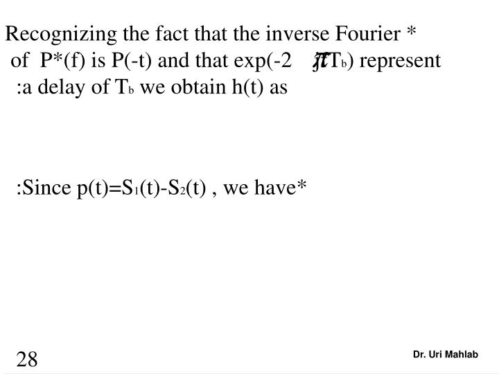 Recognizing the fact that the inverse Fourier *