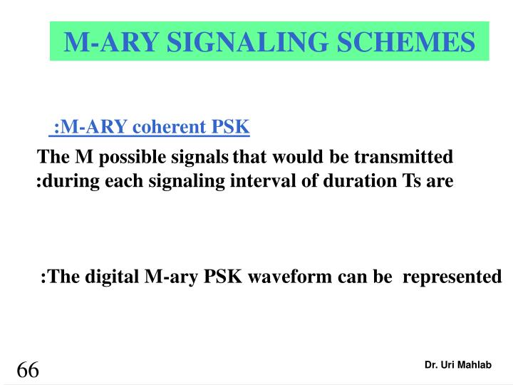 M-ARY SIGNALING SCHEMES