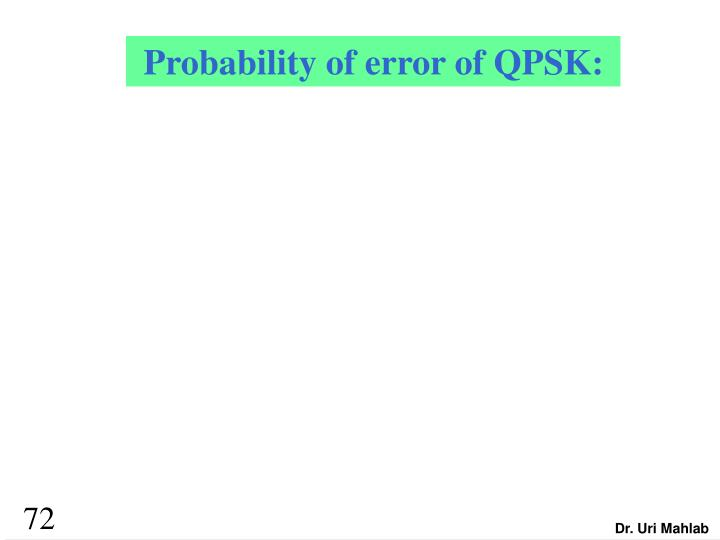Probability of error of QPSK: