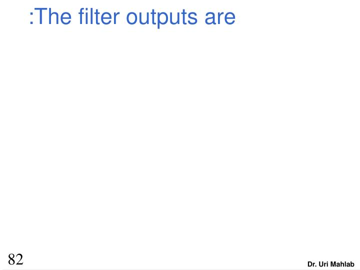 :The filter outputs are