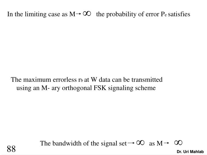 In the limiting case as M            the probability of error P
