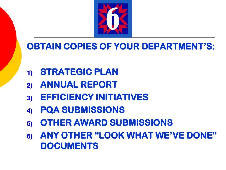 OBTAIN COPIES OF YOUR DEPARTMENT'S: