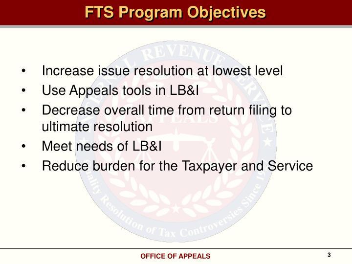 FTS Program Objectives
