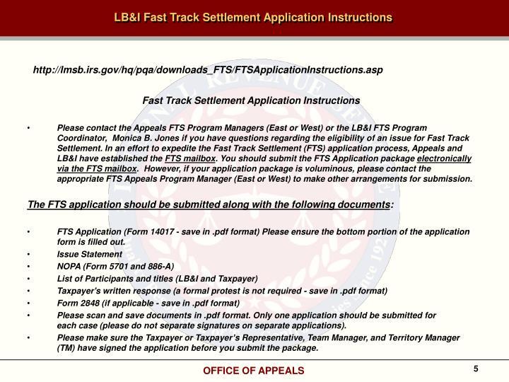 LB&I Fast Track Settlement Application Instructions