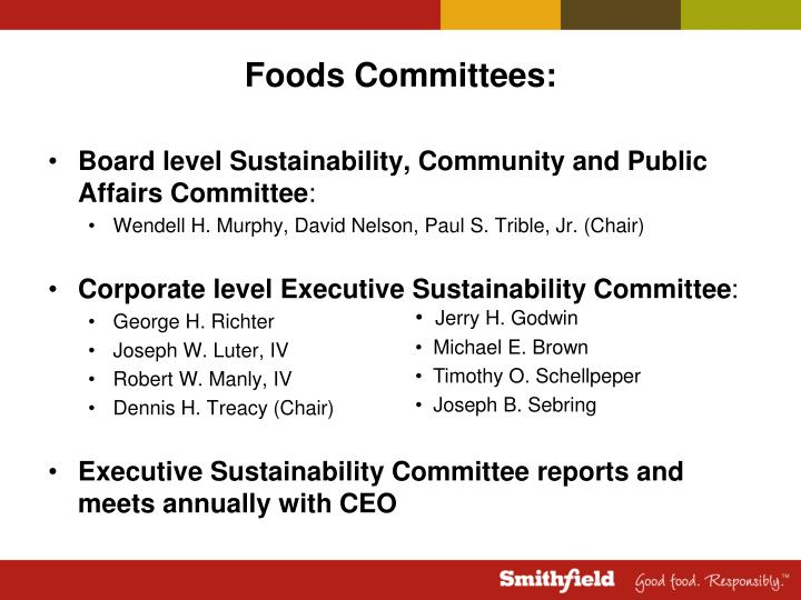 Foods Committees: