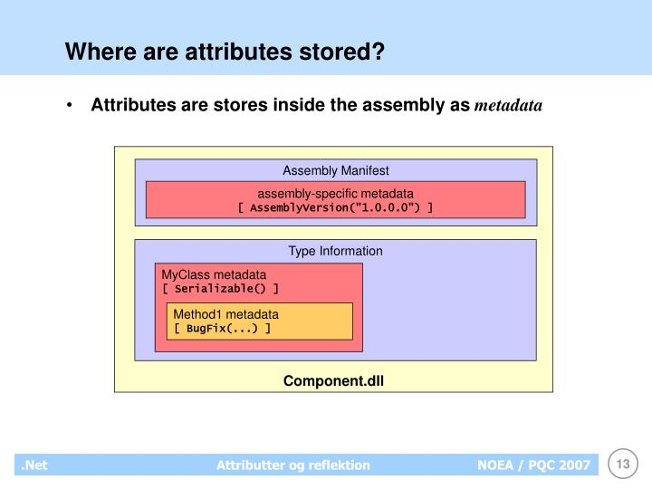 Where are attributes stored?