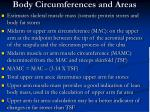 body circumferences and areas
