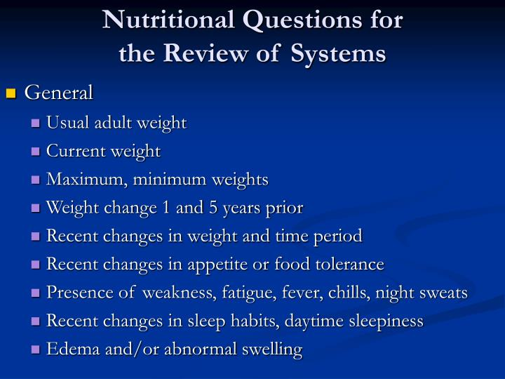Nutritional Questions for
