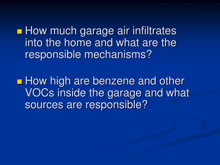 How much garage air infiltrates into the home and what are the responsible mechanisms?