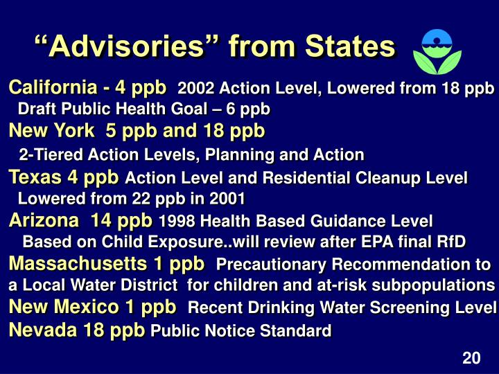 """""""Advisories"""" from States"""