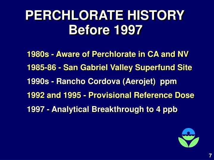 PERCHLORATE HISTORY