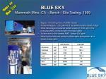 blue sky mammoth mine ca bench site testing 1999