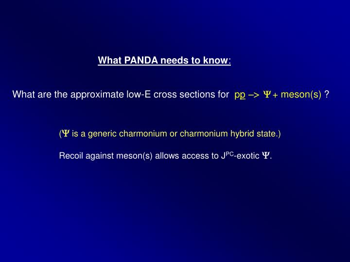 What PANDA needs to know