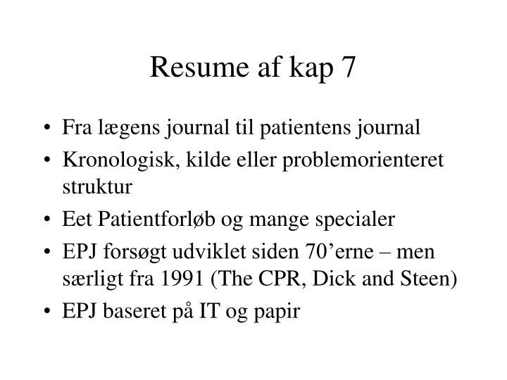 Resume af kap 7