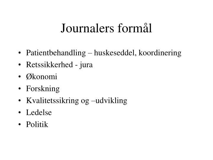 Journalers formål