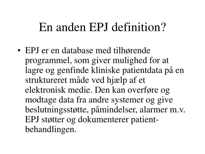 En anden EPJ definition?