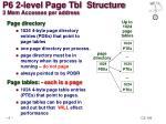 p6 2 level page tbl structure 3 mem accesses per address