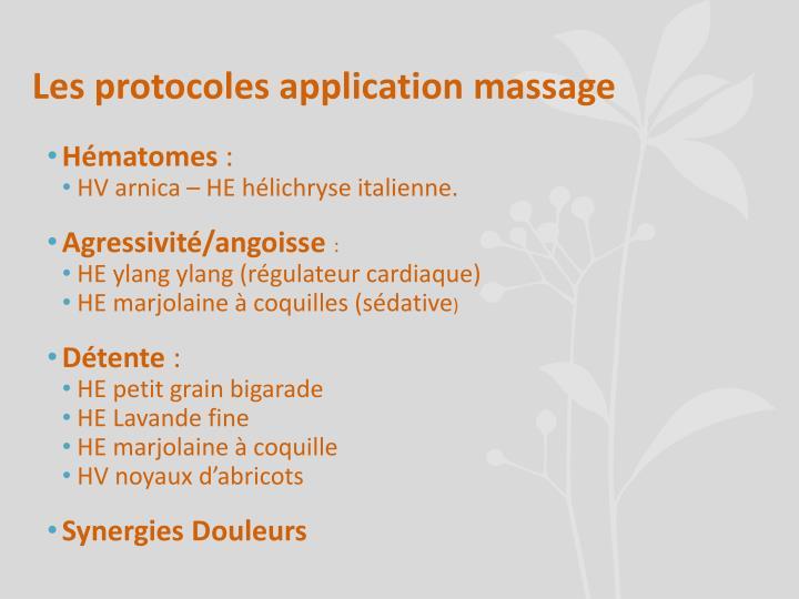 Les protocoles application massage